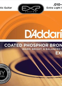 D'Addario D'Addario EXP15 Coated Phosphor Bronze Extra-Light Set Strings 10-47