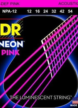 DR DR Neon Pink Acoustic Strings, 12-54