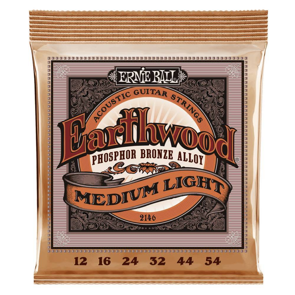 Ernie Ball Ernie Ball Earthwood Phosphor Bronze Acoustic Strings, Medium Light, 12-54