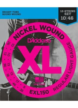 D'Addario D'Addario EXL150 Nickel Wound Electric Guitar Strings, 12-String, Regular Light, 10-46