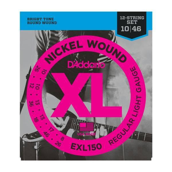 D'Addario D'Addario EXL150 Nickel Wound Electric Guitar Strings, 12-String, Regular Light, 10-46