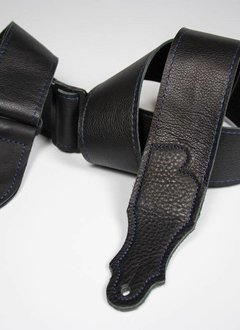 "Franklin 2"" Deluxe 60 Leather Strap, Black/Blue Stitching"