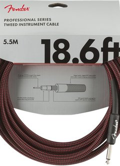 Fender Fender Professional Series Instrument Cable, 18.6', Red Tweed