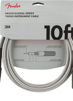 Fender Fender Professional Series Instrument Cable, 10', White Tweed