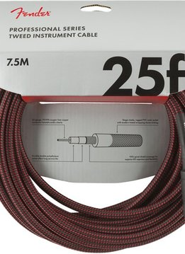 Fender Fender Professional Series Instrument Cable, 25', Red Tweed