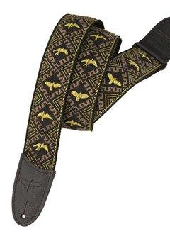 PRS PRS PRS Jacquard Hootenanny Style Guitar Strap, Yellow & Black Birds