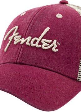 Fender Fender® Spaghetti Logo Washed Trucker Hat, Maroon