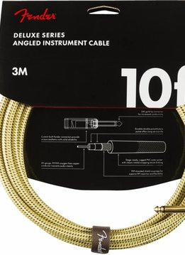 Fender Fender Deluxe Series Instrument Cable, Straight/Angle, 10', Tweed