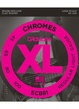 D'Addario D'Addario ECB81 Chromes Bass Guitar Strings, Light, 45-100, Long Scale