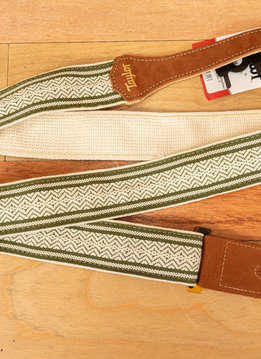 Taylor Taylor Strap, White/Green Jacquard Cotton, 2""