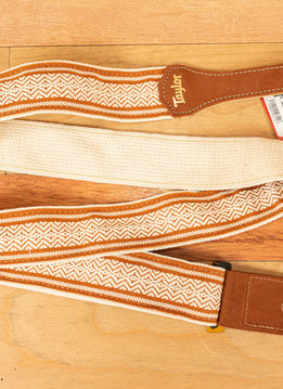 Taylor Taylor Strap, White/Brown Jacquard Cotton, 2""