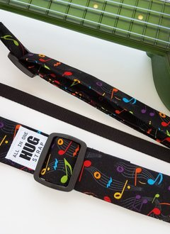 The Hug Strap All in One Hug Strap - Multicolored Music Notes on Black