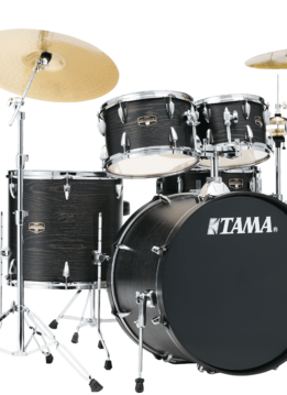 Tama Tama Imperial Star 5 Piece Complete Drum Set, Black Oak Wrap