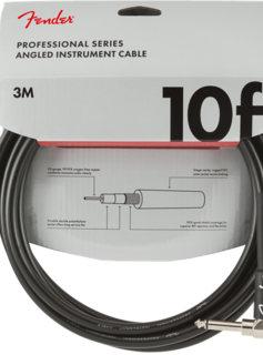 Fender Fender Professional Series Instrument Cable, Straight-Angle, 10', Black