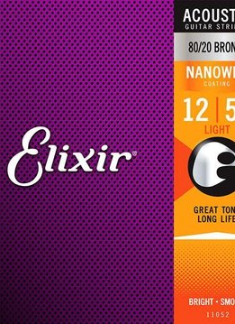 Elixir Elixir Nanoweb Acoustic 80/20 Bronze, Light 12-53