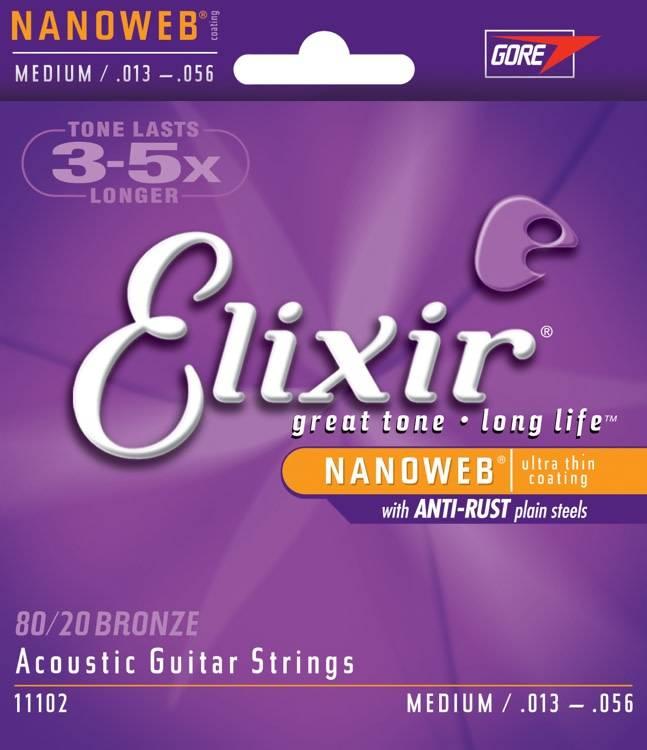 Elixir Elixir Nanoweb Acoustic 80/20 Medium, 13-56