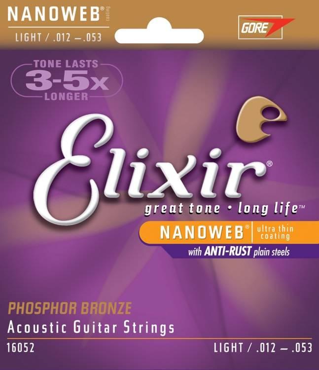Elixir Elixir Nanoweb Acoustic Phosphor Bronze, Light 12-53