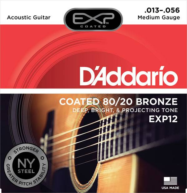 D'Addario D'Addario EXP12 80/20 Coated Bronze Strings, Medium