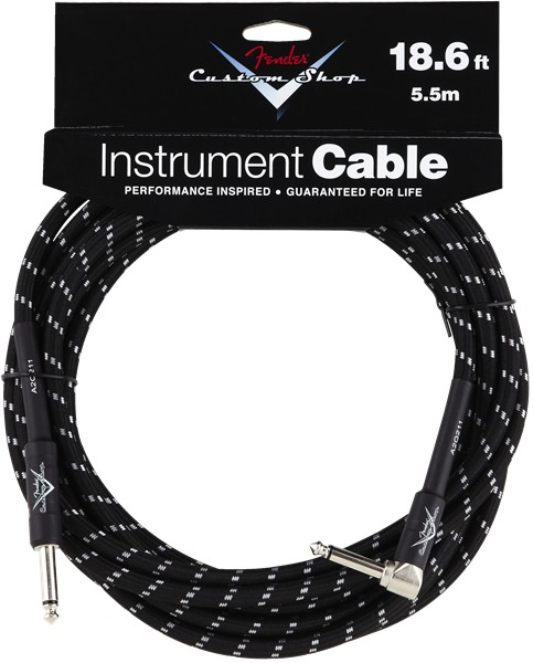 Fender Fender® Custom Shop Cable, 18.6', Black, Angled