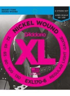 D'Addario D'Adarrio Nickel 6-String Bass, Light, 32-130, Long Scale