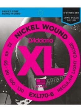 D'Addario D'Adarrio Nickel 6-String Bass, Light, 32-130, Long Scale