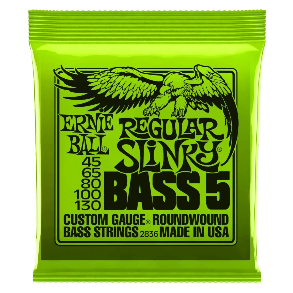 Ernie Ball Ernie Ball 2836 Regular Slinky 5-String Bass Set, Long Scale 45-130