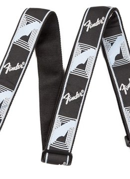 "Fender Fender® 2"" Monogrammed Strap, Black/Light Grey/Blue"