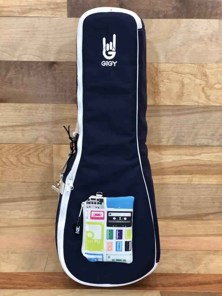 GiGY GiGY Concert Ukulele Gig Bag - Navy/White, Includes Mini Tote 26 Handle