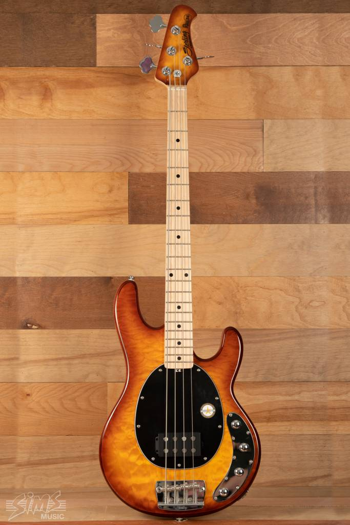 Sterling Sterling Ray34 Electric Bass, Quilt Maple, Honey Burst, Maple Fingerboard - Mint