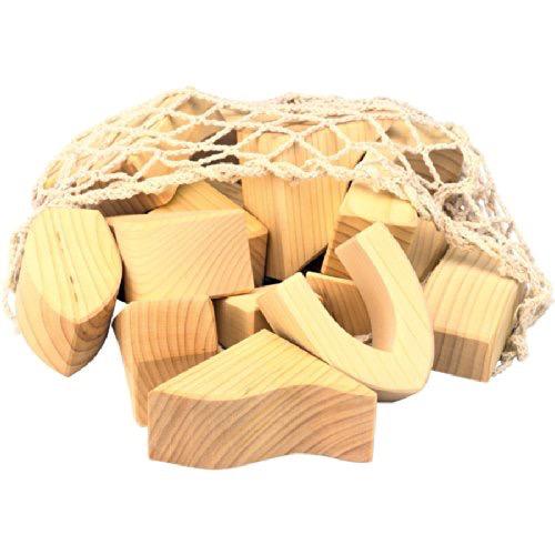 Gluckskafer Blocks large - natural 17pc in net bag