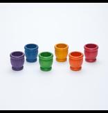 Grapat Wood Coloured Mates / Pots 6 pcs (6 colours)