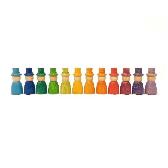 Grapat Wood Coloured Wizard Nins With Hats 12 pcs