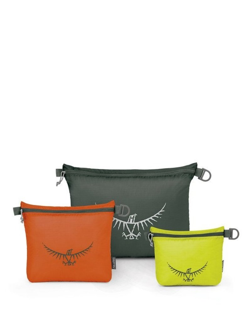 Osprey Packs UltraLight Zipper Sack Set Lime/Orange/Grey S/M/L