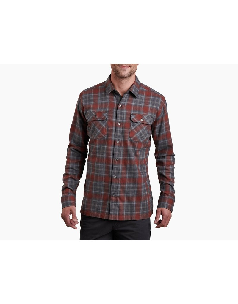 Kuhl Men's Dillingr Flannel Long Sleeve Shirt Damascas Steel XXL Closeout