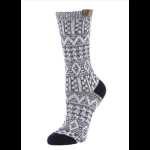 BearPaw Women's Aztec Jacquard Crew Socks - Black