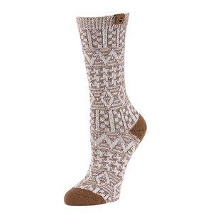 BearPaw Women's Aztec Jacquard Crew Socks - Taupe