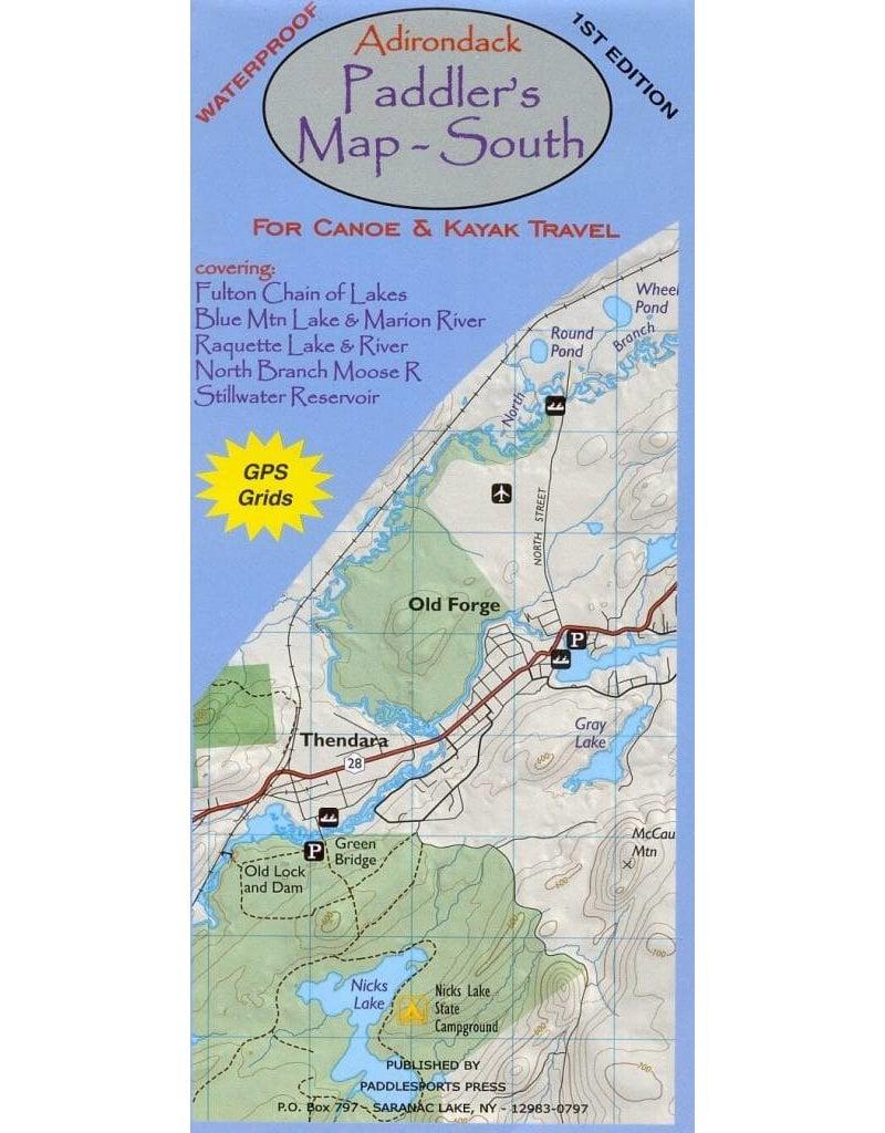 Blue Line Book Exchange Adirondack Paddler's Map South