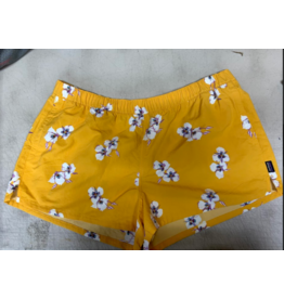 Patagonia Women's Barely Baggies Shorts Mariposa Lily Rugy Yellow Size XL