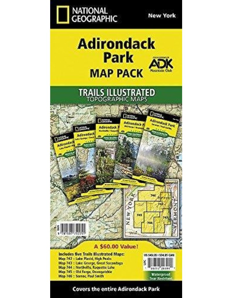 National Geographic Adirondack Park T.I Topographical Map Pack Bundle
