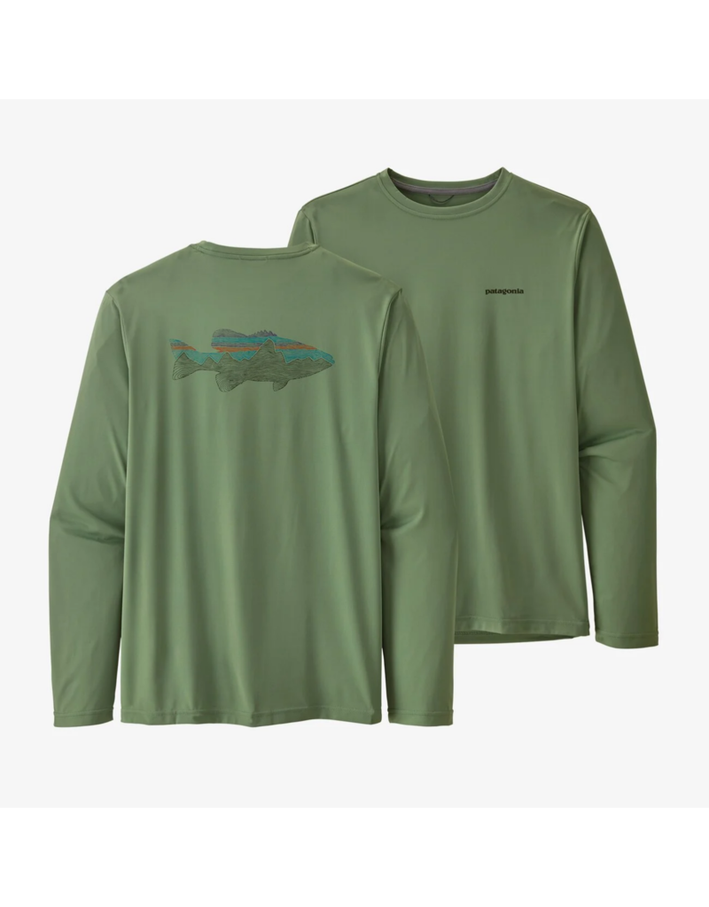 Patagonia Men's Long Sleeve Cap Cool Daily Fish Graphic Shirt