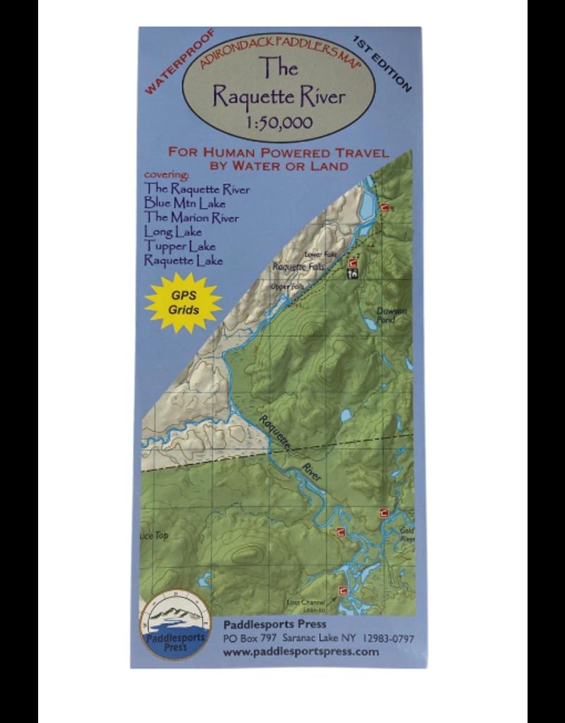 Blue Line Book Exchange Adirondack Paddler's Map Raquette River