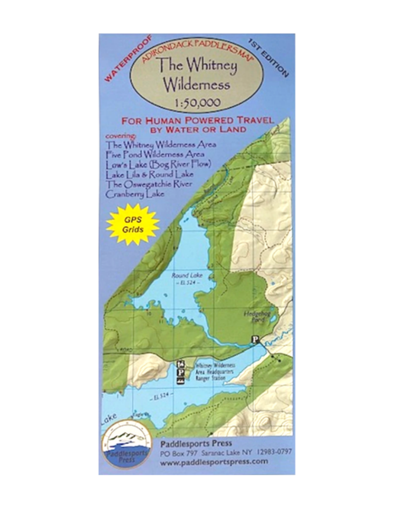 Blue Line Book Exchange Adirondack Paddler's Map Whitney Wilderness