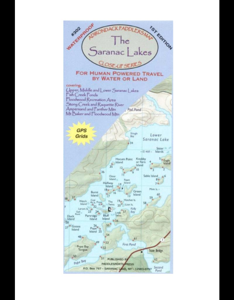 North Country Books Inc. Adirondack Paddler's Map Saranac Lake