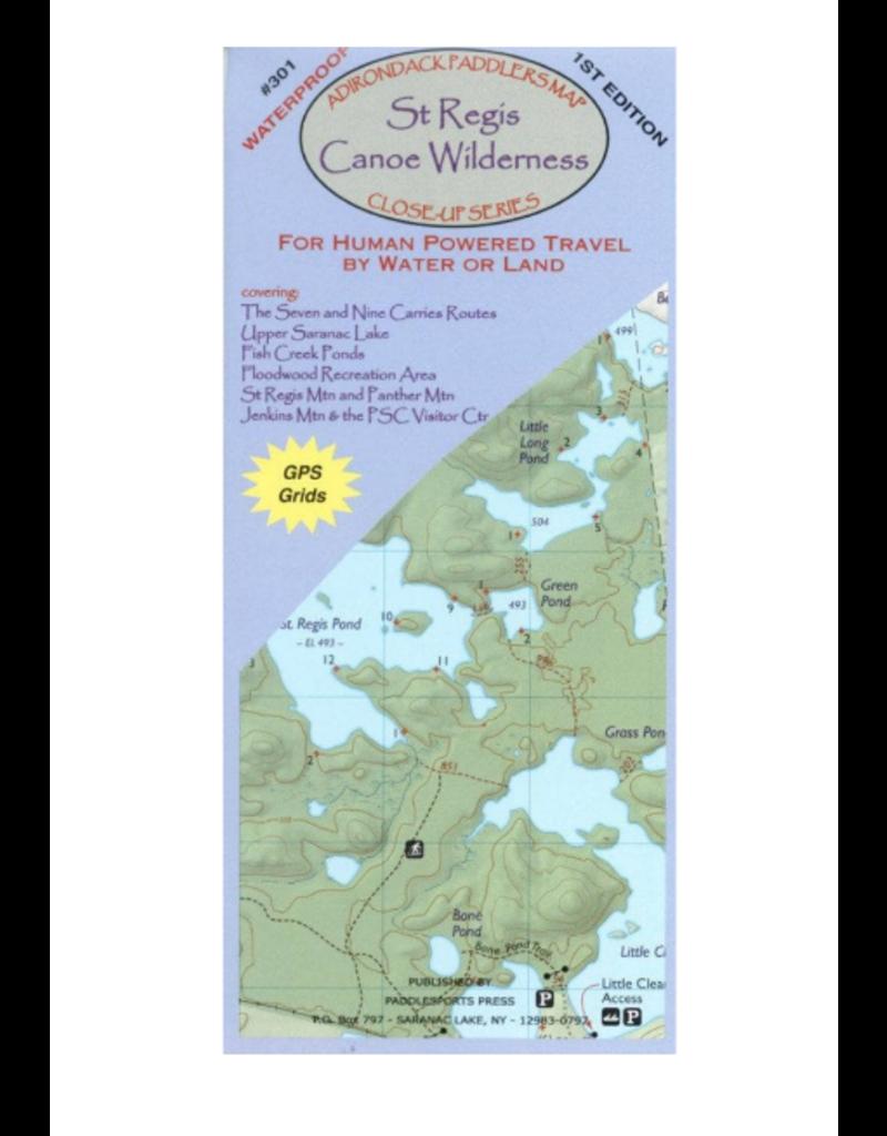 Blue Line Book Exchange Adirondack Paddler's Map St. Regis