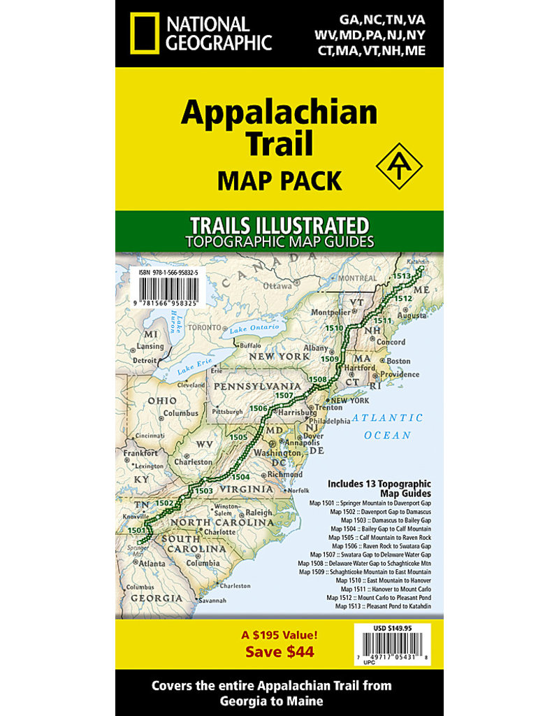National Geographic Appalachian Trail Map Pack - 13 Trails Illustrated Topo Maps