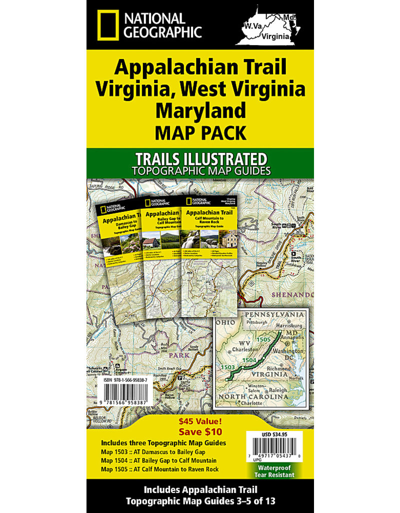 National Geographic Appalachian Trail Map Pack - VA, WV, MD - 3 Maps