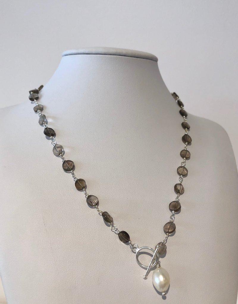 BlacKnot Jewellery Smoky Quartz Toggle Silver Necklace w Pearl