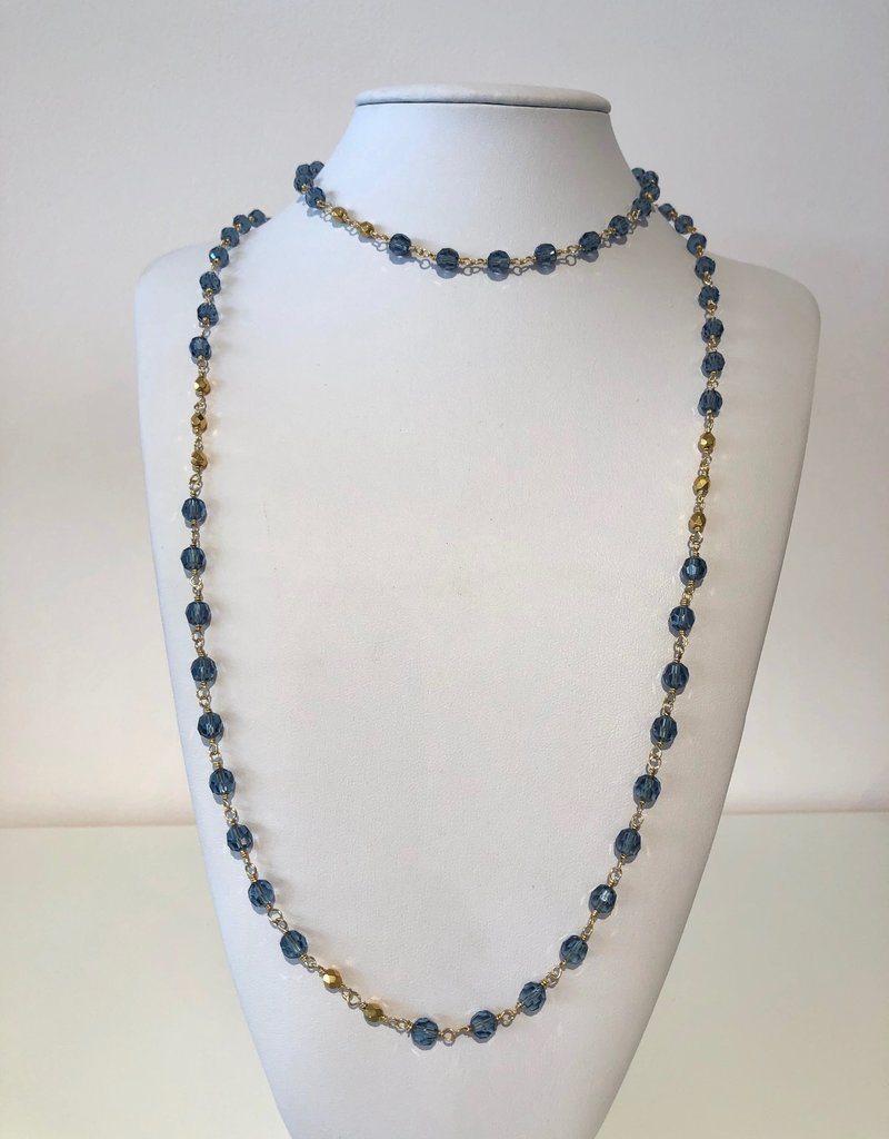 BlacKnot Jewellery Facetted Denim Blue Swarovski Crystal w 18K Gold