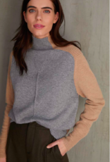 Autumn Cashmere Color Block Funnel Sweater