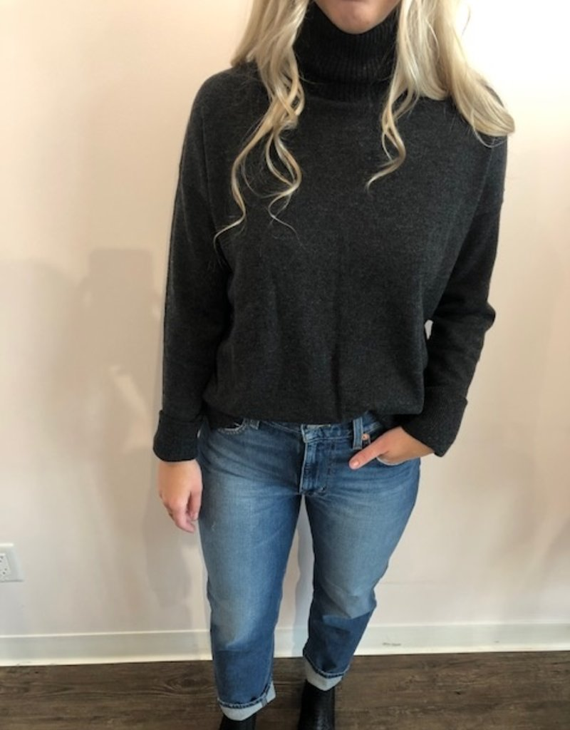 Autumn Cashmere Side Button Mock Sweater